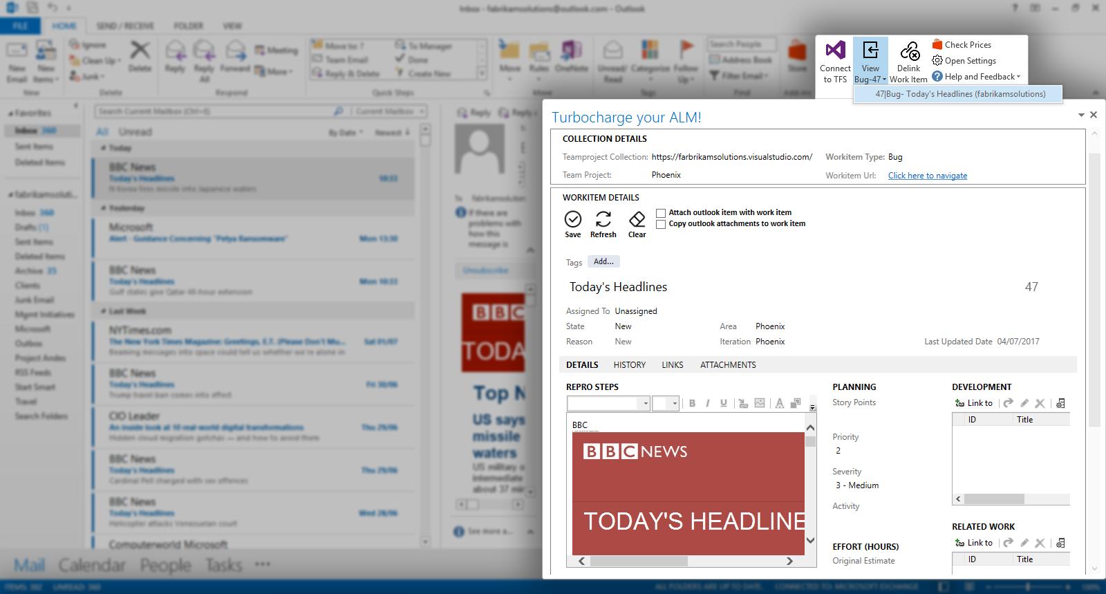 Azure DevOps Work Items from Outlook. Almo